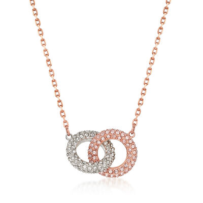 Swarovski Crystal Interlocking Rings Necklace in Gold Plate, , default