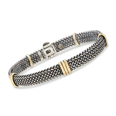 Italian Sterling Silver and 18kt Bonded Gold Woven Bracelet, , default