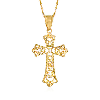 14kt Yellow Gold Cut-Out Filigree Cross Pendant Necklace, , default