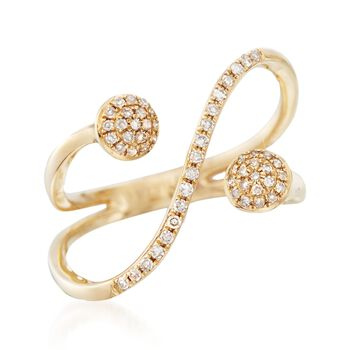 .16 ct. t.w. Pave Diamond Curve Ring in 14kt Yellow Gold, , default