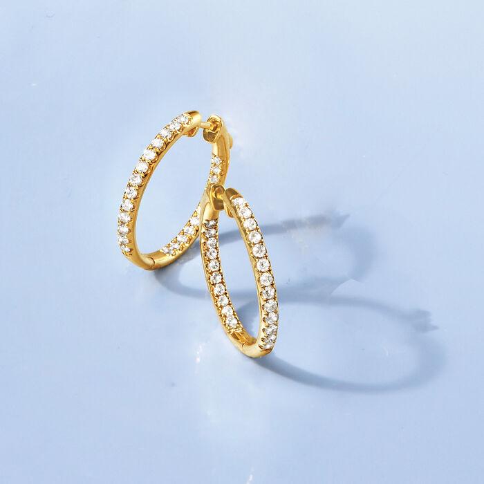 1.00 ct. t.w. Inside-Outside Diamond Hoop Earrings in 14kt Yellow Gold