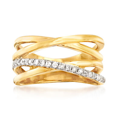 .25 ct. t.w. Diamond Crisscross Ring in 18kt Gold Over Sterling