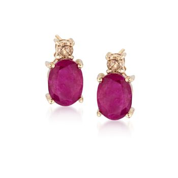 3.00 ct. t.w. Ruby and .16 ct. t.w. Diamond Earrings in 14kt Yellow Gold, , default