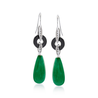 20x10mm Green Jade Teardrop Earrings With Black Agate and White Topaz in Sterling Silver, , default