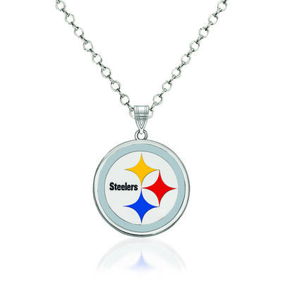 Sterling Silver NFL Pittsburgh Steelers Enamel Pendant Necklace. 18""