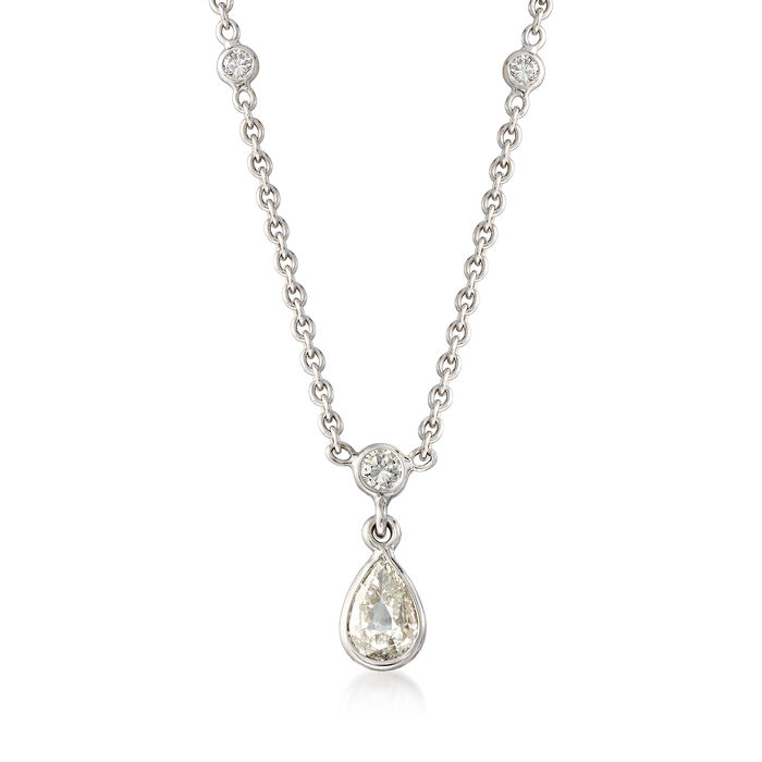 """C. 1990 Vintage .75 ct. t.w. Diamond Drop Necklace in 18kt White Gold. 16"""""""