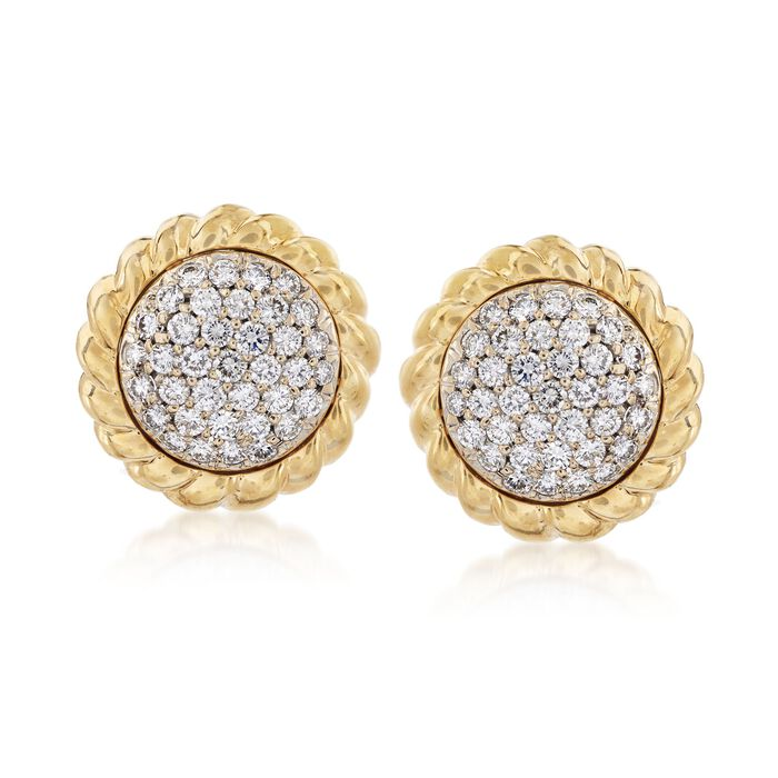 C. 1990 Vintage 2.60 ct. t.w. Pave Diamond Earrings in 18kt Yellow Gold