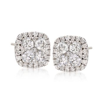 1.05 ct. t.w. Diamond Square Cluster Earrings in 18kt White Gold, , default
