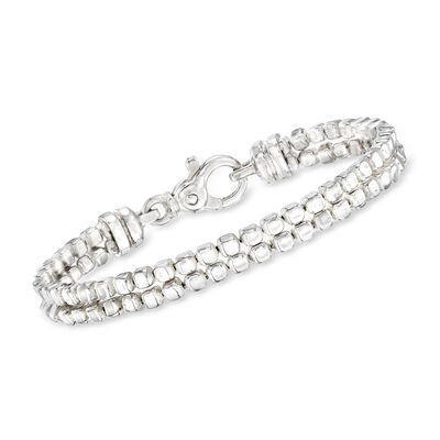 "Zina Sterling Silver ""Ice Cube"" Double Chain Bracelet, , default"