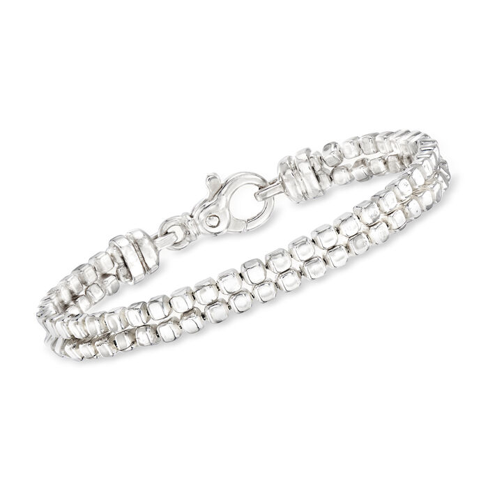 "Zina Sterling Silver ""Ice Cube"" Double Chain Bracelet. 7.5"", , default"