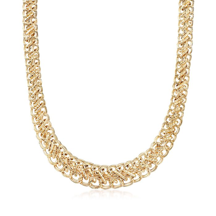 18kt Yellow Gold Over Sterling Silver Graduated Oval-Link Necklace, , default