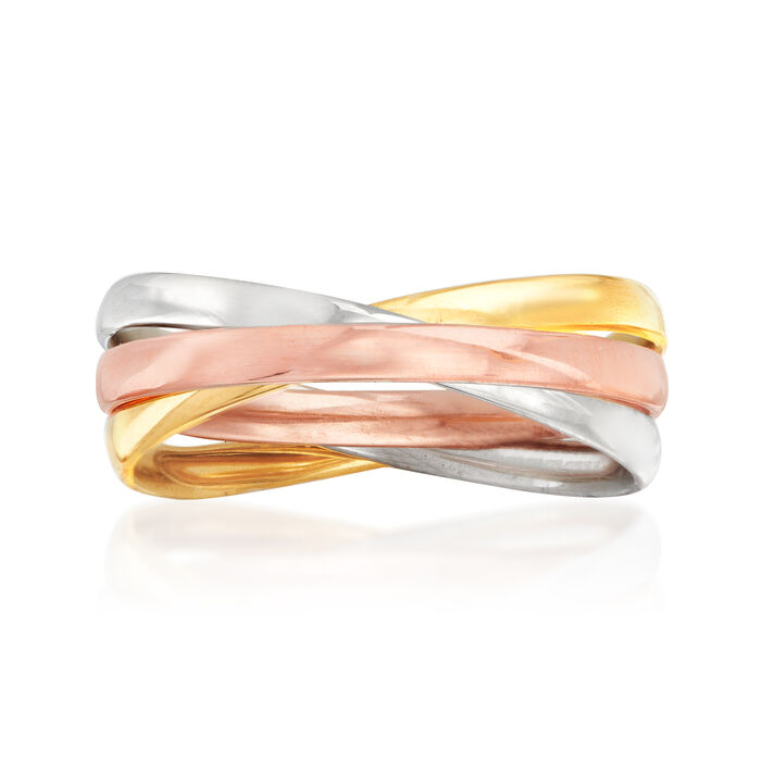 Italian 14kt Tri-Colored Gold Crisscross Ring, , default