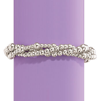 Italian Sterling Silver Twisted Multi-Bead Bracelet, , default