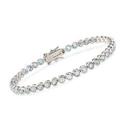 """6.25 ct. t.w. Bezel-Set Blue Topaz Bracelet in Sterling Silver. 7.25"""", , default"""
