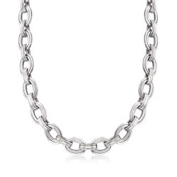 "Sterling Silver Oval-Link Necklace. 18"", , default"