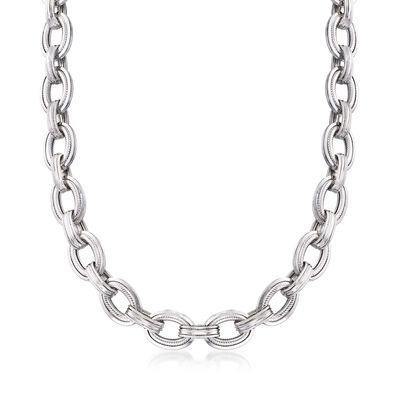 Sterling Silver Oval-Link Necklace, , default