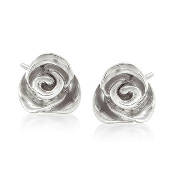 Italian Sterling Silver Rose Earrings, , default