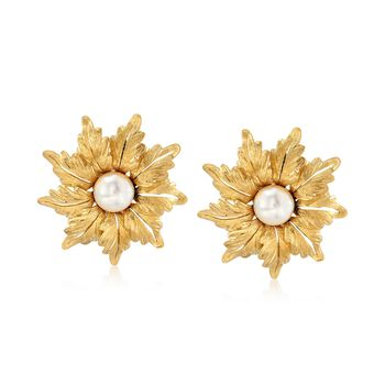 C. 1980 Vintage 8mm Cultured Pearl Floral Earrings in 18kt Yellow Gold , , default
