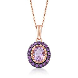 2.30 ct. t.w. Pink and Purple Amethyst Pendant Necklace in 14kt Rose Gold Over Sterling Silver, , default