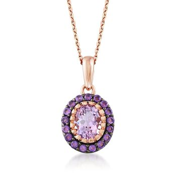 """2.30 ct. t.w. Pink and Purple Amethyst Pendant Necklace in 14kt Rose Gold Over Sterling Silver. 18"""", , default"""