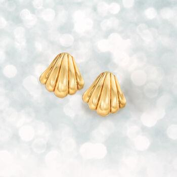 Italian 18kt Yellow Gold Seashell Clip-On Earrings