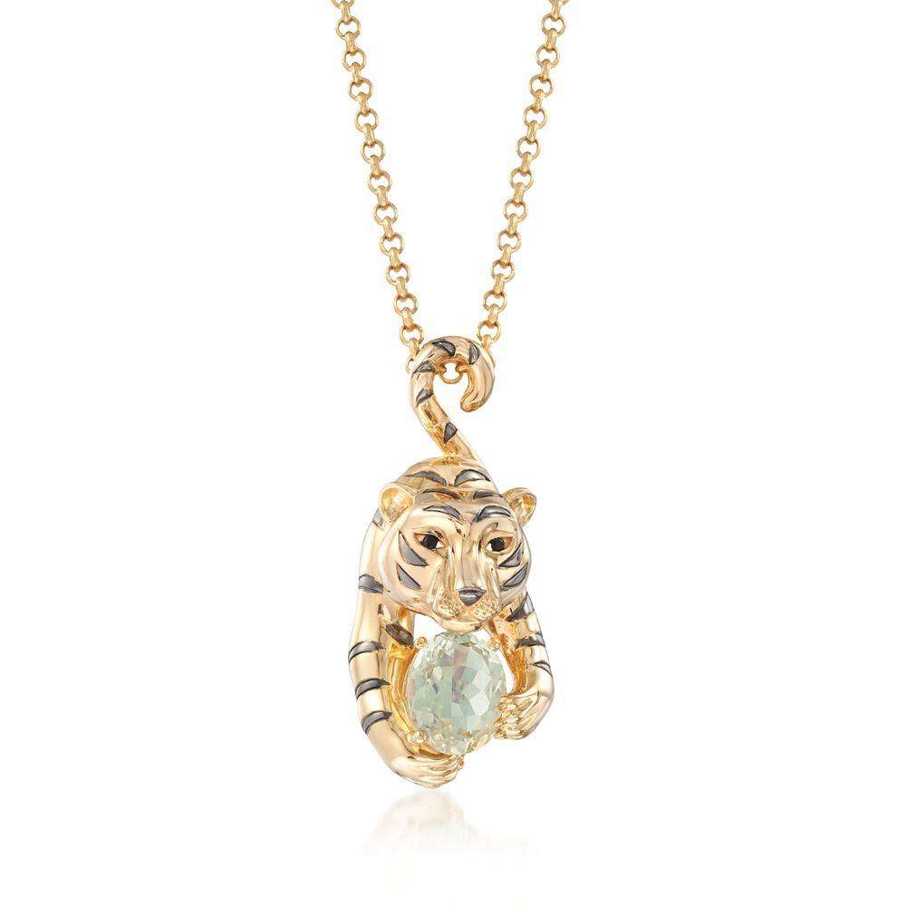18kt yellow gold over sterling silver tiger and 310 carat green 18kt yellow gold over sterling silver tiger and 310 carat green amethyst pendant necklace with aloadofball Images