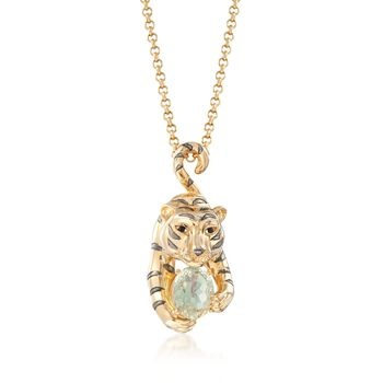 "18kt Yellow Gold Over Sterling Silver Tiger and 3.10 Carat Green Amethyst Pendant Necklace With .03 ct. t.w. Black Spinel. 18"", , default"