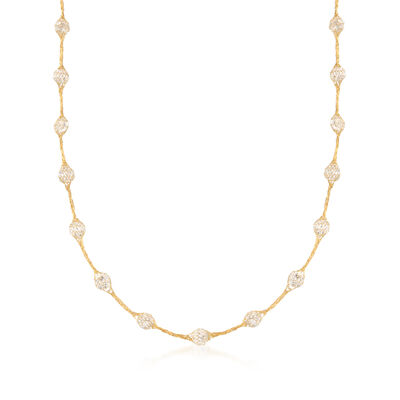 5.25 ct. t.w. CZ Mesh Station Necklace in 14kt Yellow Gold, , default