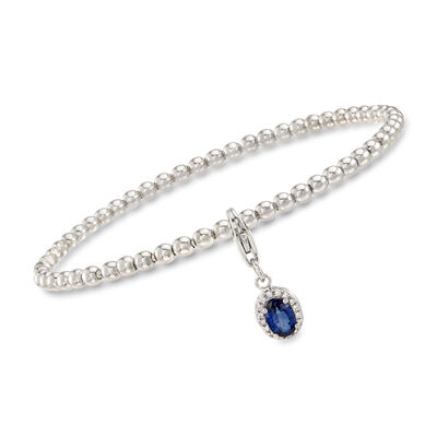 Sterling Silver Bead Stretch Bracelet with .50 Carat Sapphire and Diamond-Accented Charm, , default