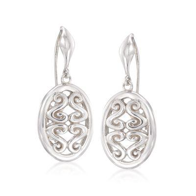 """Zina Sterling Silver """"Seville"""" Open Swirl Oval Drop Earrings, , default"""