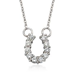 "Roberto Coin ""Tiny Treasures"" .23 ct. t.w. Diamond Horseshoe Necklace in 18kt White Gold, , default"