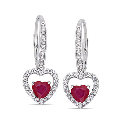1.15 ct. t.w. Ruby and .40 ct. t.w. White Sapphire Heart Drop Earrings in 14kt White Gold