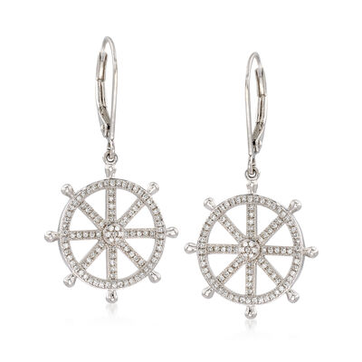.45 ct. t.w. Diamond Ship Wheel Drop Earrings in Sterling Silver, , default