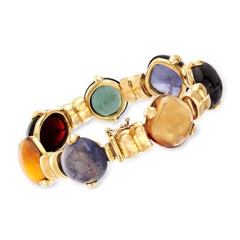 "C. 1990 Vintage Legnazzi Multi-Gem Bracelet in 18kt Yellow Gold. 7"", , default"