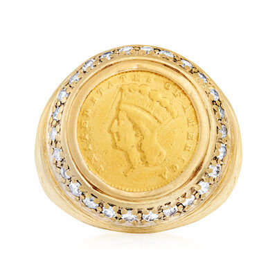 C. 2000 Vintage .52 ct. t.w. Diamond Coin Ring in 14kt Yellow Gold