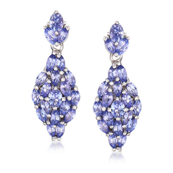 3.30 ct. t.w. Tanzanite Drop Earrings in Sterling Silver, , default