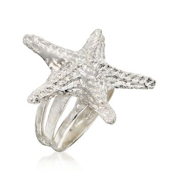 Sterling Silver Textured Starfish Ring. Size 6, , default