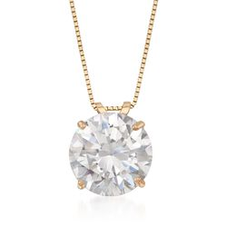 4.00 Carat CZ Solitaire Necklace in 14kt Yellow Gold, , default