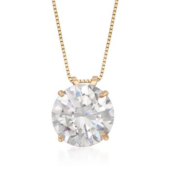 """4.00 Carat CZ Solitaire Necklace in 14kt Yellow Gold. 18"""", , default"""