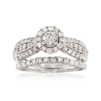 1.00 ct. t.w. Diamond Milgrain Bridal Set: Engagement and Weddings Rings in 14kt White Gold, , default