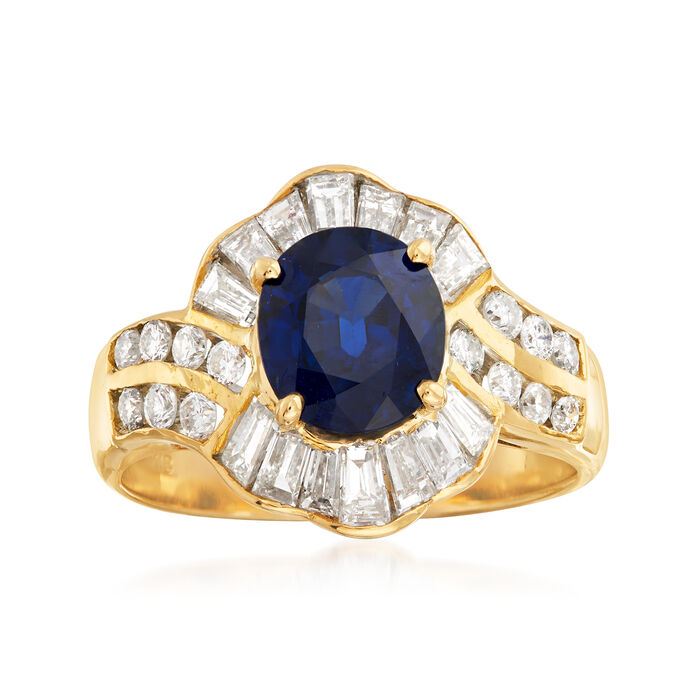 C. 1980 Vintage 1.90 Carat Sapphire and 1.15 ct. t.w. Diamond Ring in 18kt Yellow Gold. Size 6