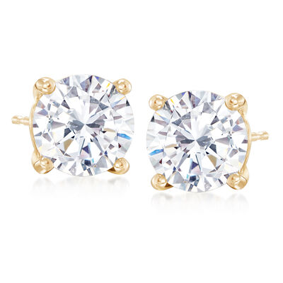 4.00 ct. t.w. CZ Stud Earrings in 14kt Yellow Gold