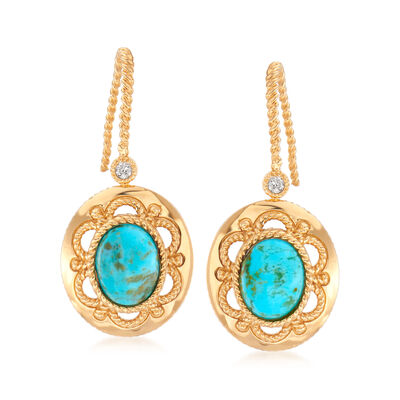 Turquoise Drop Earrings with White Zircon Accents in 18kt Gold Over Sterling, , default