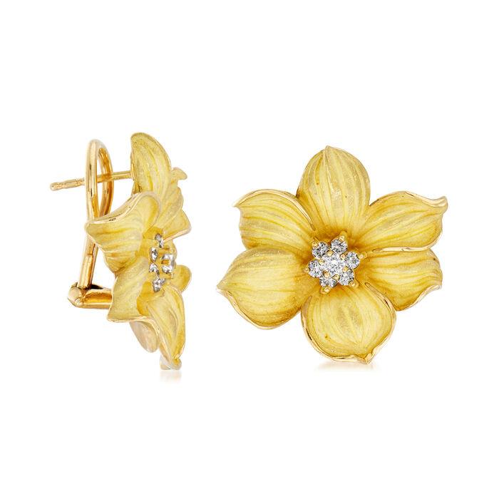 C. 1980 Vintage .45 ct. t.w. Diamond Center Flower Earrings in 18kt Yellow Gold