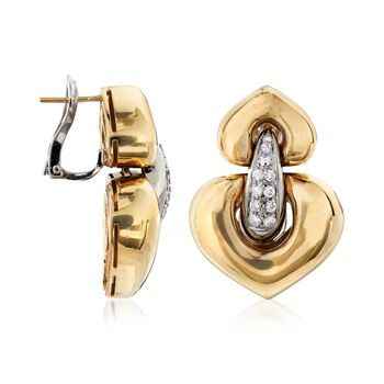 C. 1980 Vintage .55 ct. t.w. Diamond Heart-Shaped Doorknocker Earrings in 18kt Yellow Gold , , default
