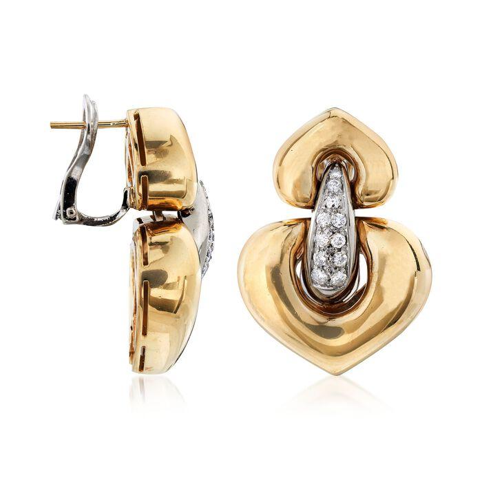 C. 1980 Vintage .55 ct. t.w. Diamond Heart-Shaped Doorknocker Earrings in 18kt Yellow Gold