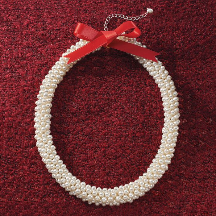 4-5.5mm Cultured Pearl Collar Necklace in Sterling Silver