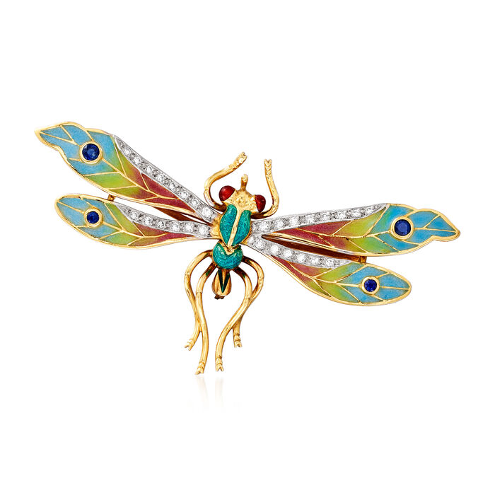 C. 1970 Vintage .45 ct. t.w. Diamond, .35 ct. t.w. Sapphire and Multicolored Enamel Plique-A-Jour Dragonfly Pin in 18kt Yellow Gold