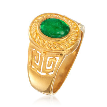 C. 1980 Vintage Green Jade Ring in 24kt Yellow Gold. Size 7