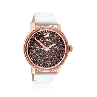 Swarovski Crystal Crystalline Hours Women's Rose Goldtone Stainless Watch With Rose Crystals and White Leather, , default